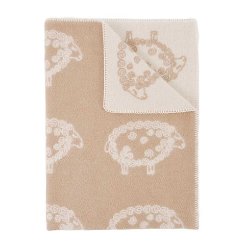 Child's Curly Sheep Taupe Wool Blanket by JJ Textile