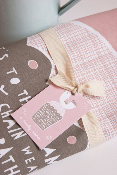 'The Dreamers' Dusky Pink Cotton Apron by Freya Ete
