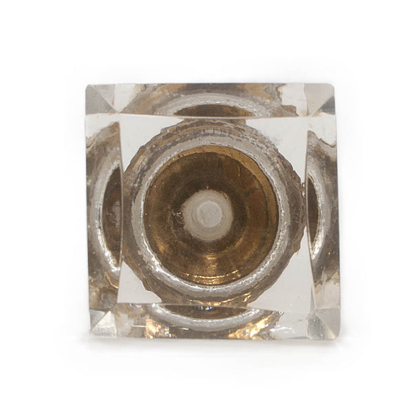 Square clear glass drawer knob