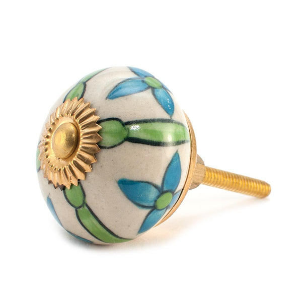 Country Cornflower Green and Blue design ceramic drawer knob