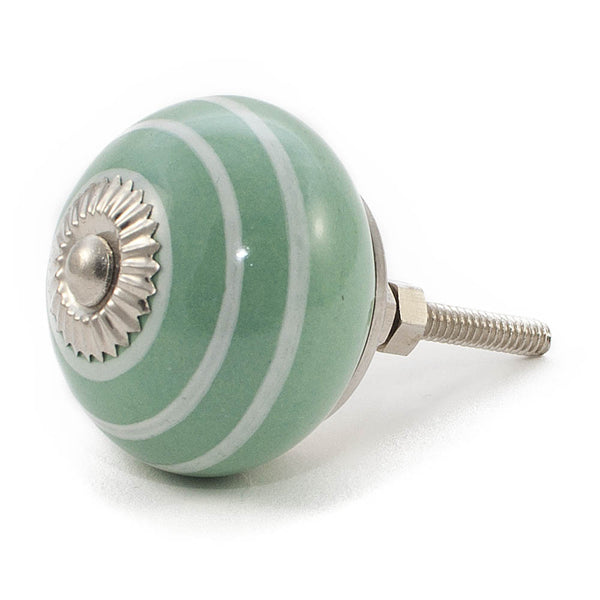 Mint Green and White Stripe ceramic drawer knob
