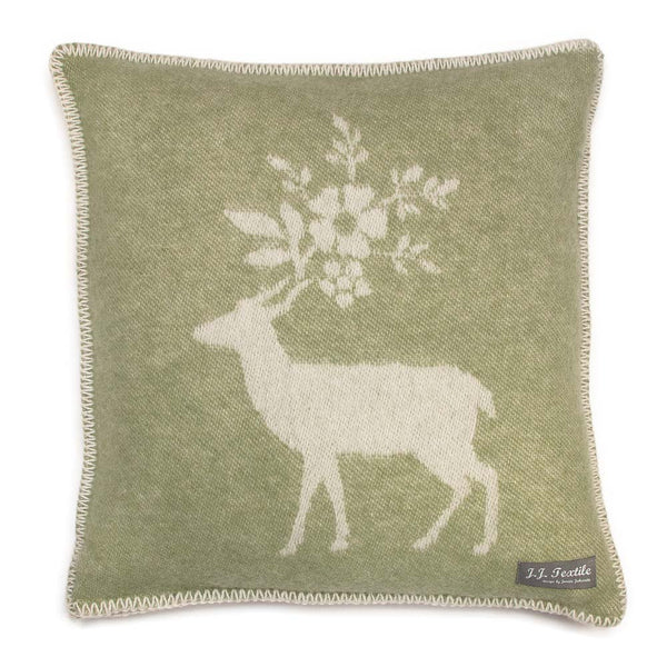 'Green Stag' Cushion Cover 45 x 45cm by JJ Textile