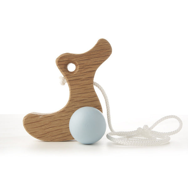 Solid Oak Pull Along Toy Duckling -Duck egg blue