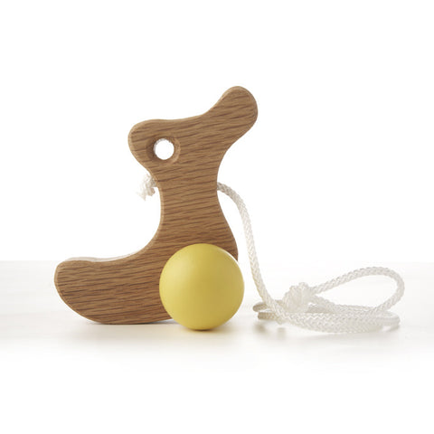Solid Oak Pull Along Toy Duckling -Yellow
