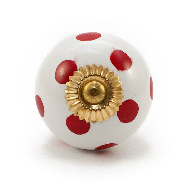 White and red dot ceramic drawer knob