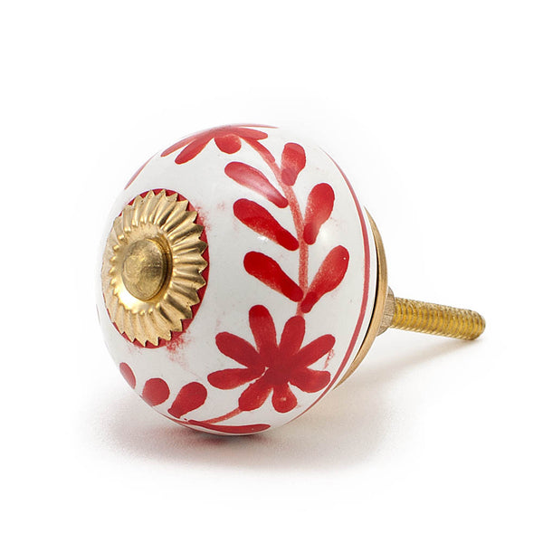 White & Red Leaf and Flower ceramic drawer knob