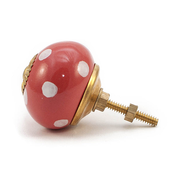 Red and White dot ceramic drawer knob