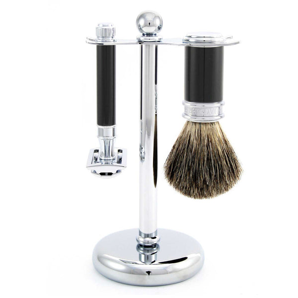 Black & Chrome Double Edged Safety Razor Shaving Set by Edwin Jagger