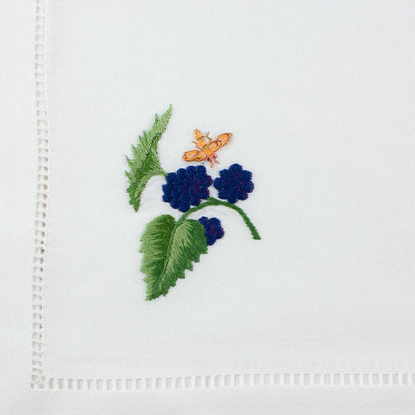 Blackberry Embroidered Large Napkin by Sibona 50 x 50cm