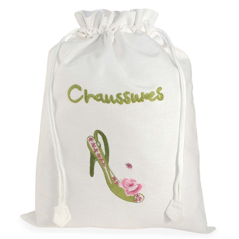 'Chaussures' Embroidered Shoe Bag by Sibona