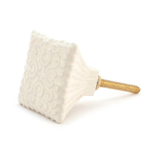 Cream Embossed Pagoda Ceramic Drawer Knob