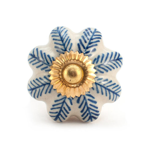 Antique Ivory & Blue Feather ceramic drawer knob
