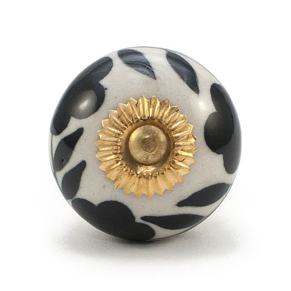Antique Ivory & Black Leaf and Flower ceramic drawer knob