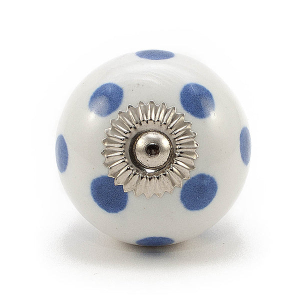 White and Cobalt Blue dot ceramic drawer knob