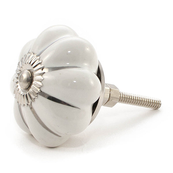 White with Silver embellishment ceramic drawer knob