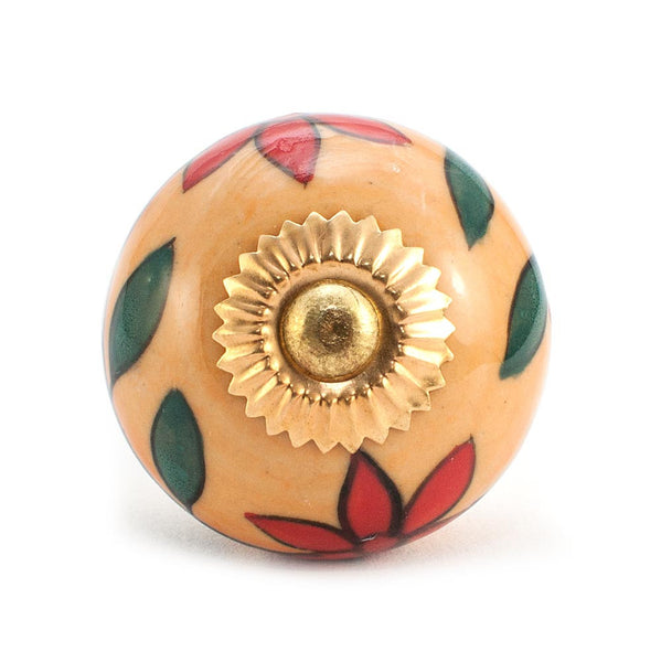 Dahlia Red and Orange design ceramic drawer knob
