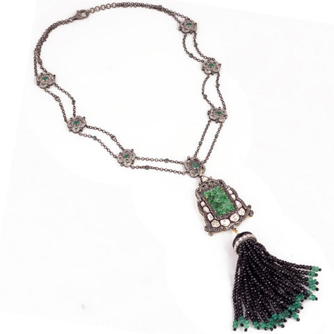 Carved Jade Diamond & Black Onyx Tassel