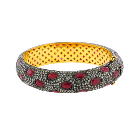 Pave Diamond & Ruby Bangle