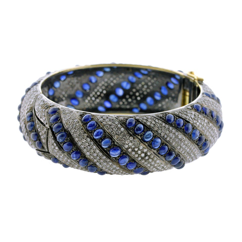 Pave Diamond and Sapphire Striped Bangle
