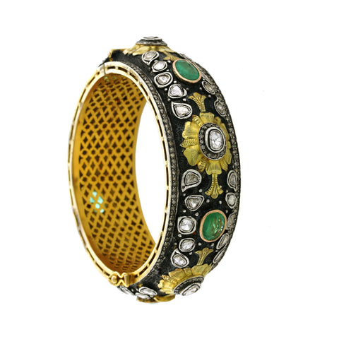 Emerald diamond and hammered gold bangle