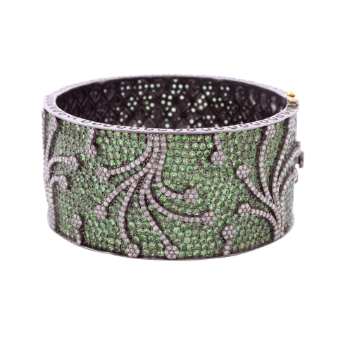 Tsavorite and Diamond Firework Bangle