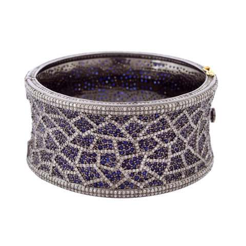 Mosaic Sapphire and Diamond Pave Bangle