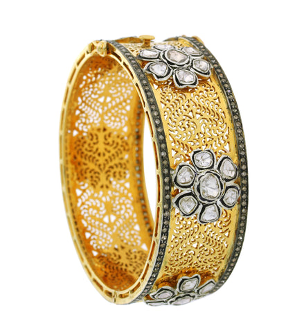 14K Diamond Filigree Floral Bangle