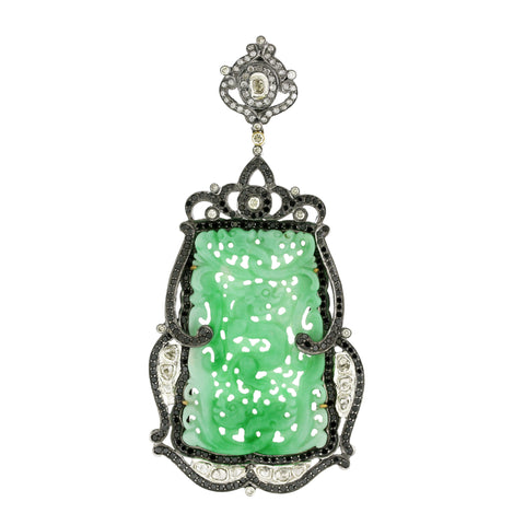 Carved Jade Pendant with Black and White Diamonds