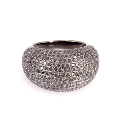 Black Diamond Pave Dome Ring