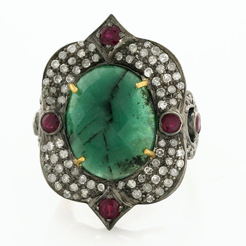 Emerald Peacock Ring