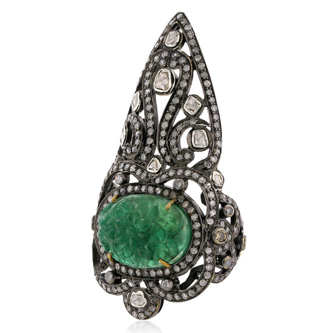 Emerald & Diamond Crown Ring