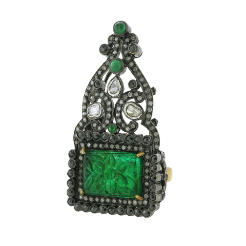 Carved Emerald & Diamond Crown Ring
