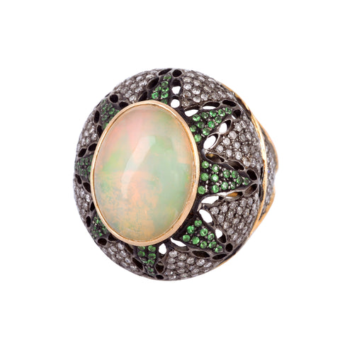 Opal & Emerald Dome Ring