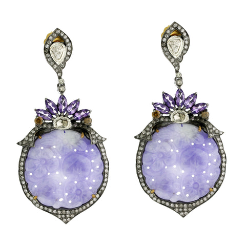 Carved Lavender Jade & Diamond Earring