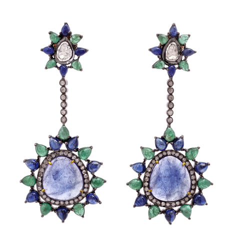 Emerald and Tanzanite Drop Earrings