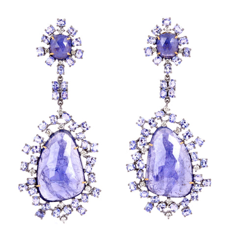 Tanzanite and Diamond Danglers