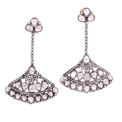 Polki Daimond Fan Earrings