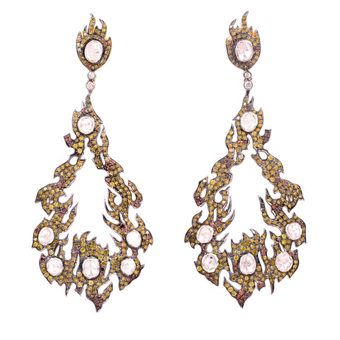 White & Yellow Diamond Flame Loop Earring