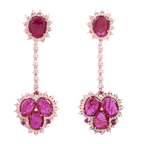 Sliced Ruby Drop Earrings