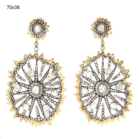 Gold and Diamond Sunburst Earring