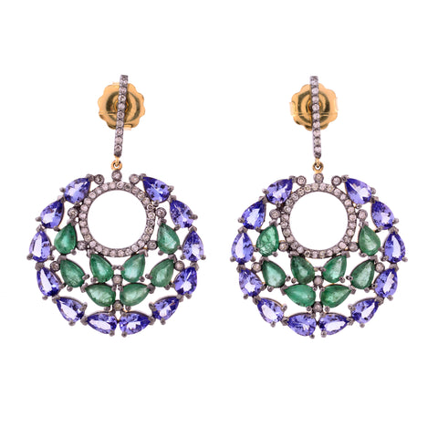Emerald and Tanzanite Mosiac Earrings
