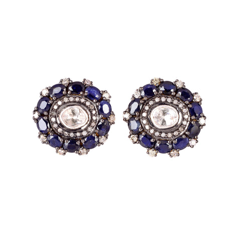 Diamond and Sapphire Circle Studs