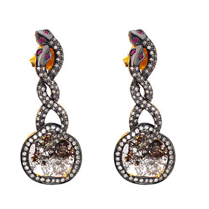 Sliced Gray Diamond Snake Earring