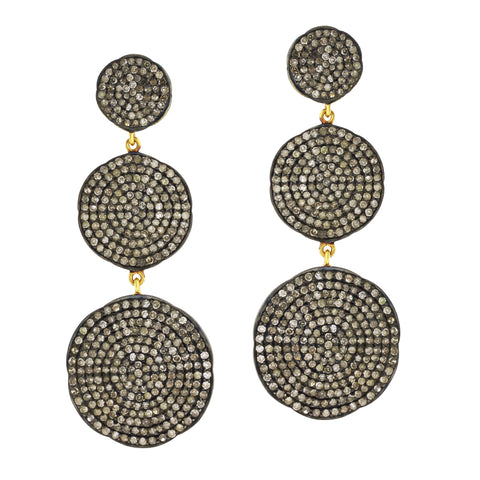 Pave Circle Drop Earring