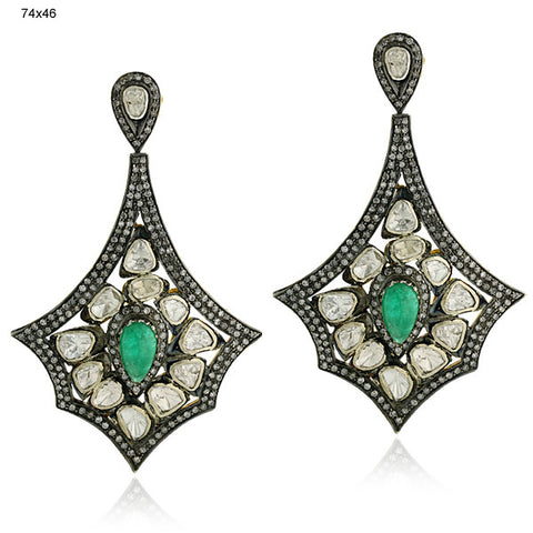 Royal Emerald and Polki Diamond Earring