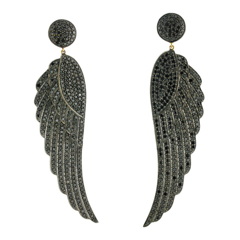 BLack Diamond Wing Earrings