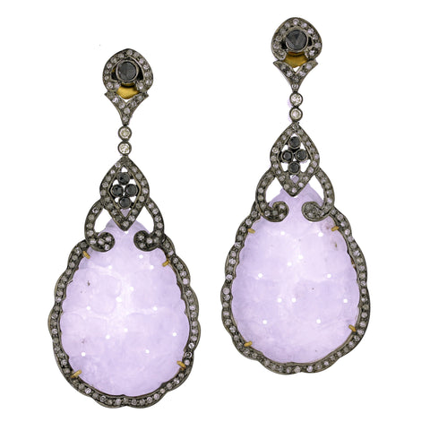 Carved Lavender Jade Teardrop Earrings