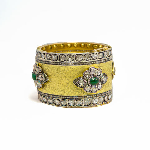 Palace Gold and Emerald Bangle