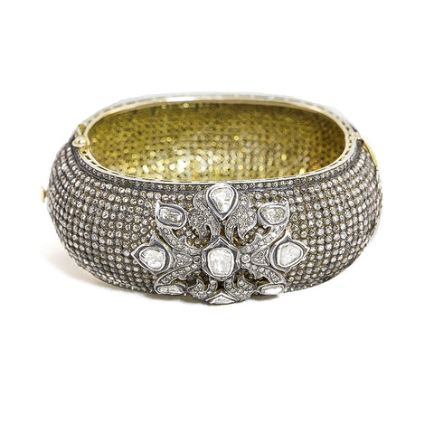 Vintage Estate Pave Bangle with Polki Embellishment
