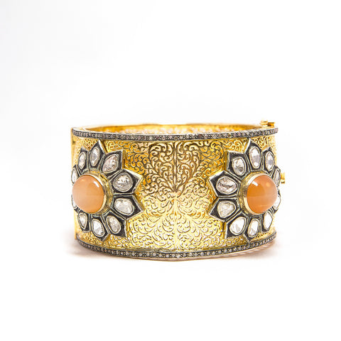 Apricot Moonstone and Gold Filigree and Diamond Bangle